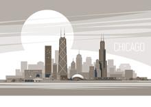 Chicago City.  Vector Illustration .eps10