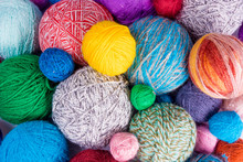 Yarn For Knitting. Colorful Wool Yarn Balls