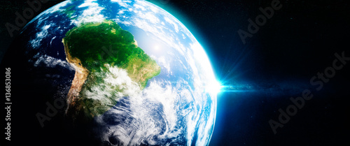 Photo Fresh green rainorests in south america viewed from the space.