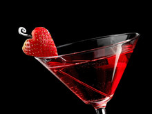 Red Strawberry Valentine Cocktail, Close Up