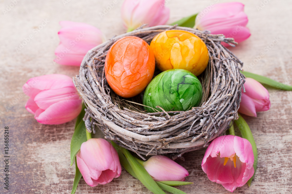 Easter Eggs In The Nest Spring Flowers Tulips Foto Poster