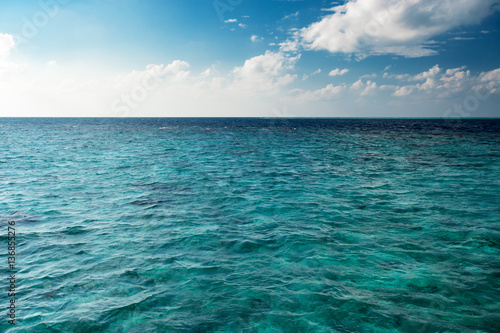 Poster Zee / Oceaan Blue cloudy sky horizon over transparent water at daytime