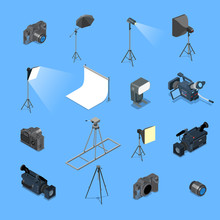 3d Flat Isometric Photo Studio Lighting Equipment Camera Vector