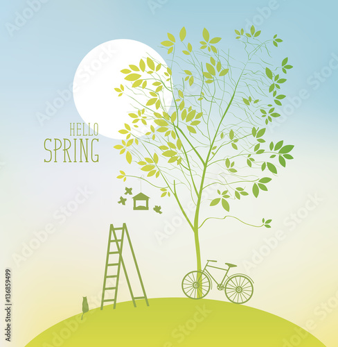 Fotobehang Lichtblauw spring landscape with two tree, sun and bike