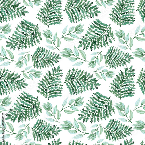 Cotton fabric Seamless Pattern of Watercolor Green Fern and Herbs