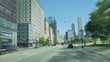 Driving Along the Golden Mile at Michigan Avenue in Chicago. Time lapse camera car driving in Illinois. Chicago downtown financial district road rage.