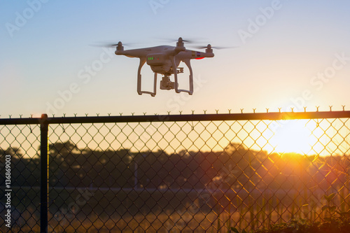 Photo Drone flying over private property