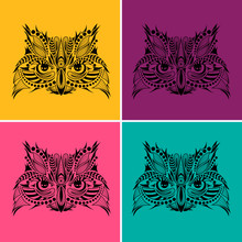 Patterned  Head Of An Owl. Pop Art Style Vector Illustration.