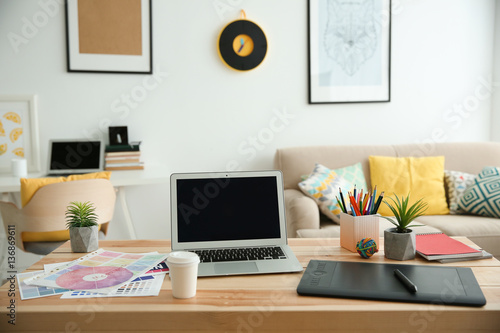 Modern Interior Of Designer Workplace Buy This Stock Photo And