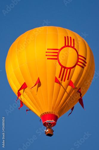 New Mexico Hot Air Balloon with Zia Sun Symbol.