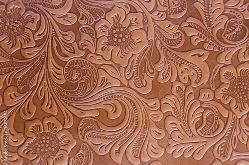 Fotografie, Obraz  Leather Embossed Floral Pattern.