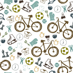 Tapeta Hipster sport bicycle seamless pattern