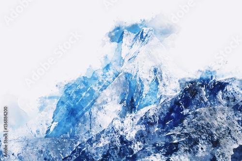 Abstrakcjonistyczny halny szczyt w błękitnym cieniu na białym tle