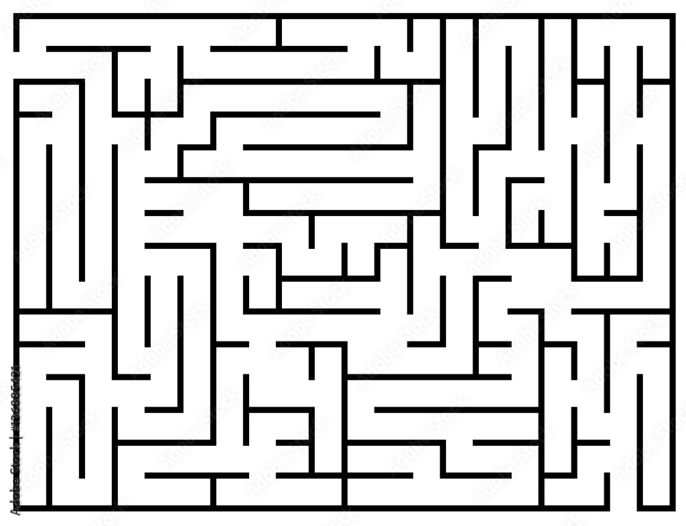 Fototapeta Kids riddle, maze puzzle, labyrinth vector illustration