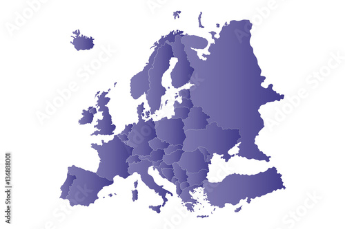 Photo  map violet europe