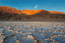 Badwater Basin At Sunset, Death Valley National Park, California.