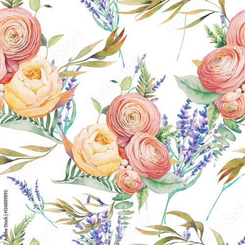 Watercolor flowers seamless pattern. Hand painted botanical wallpaper with lavender, eucalyptus leaves, ranunculus flowers, rose, fern branches on white background. Floral texture design - 136889893