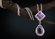 Jewelry  Pendant Witht Gem  Amethyst On Twig, Dark Background