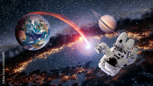 Deurstickers Nasa Astronaut planet Earth Saturn spaceman launch outer space galaxy universe. Elements of this image furnished by NASA.