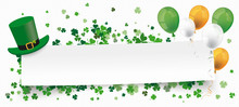 St Patricks Day Paper Banner Hat Shamrocks Balloons