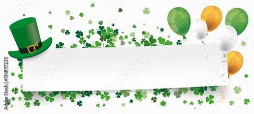 Obraz St Patricks Day Paper Banner Hat Shamrocks Balloons - fototapety do salonu