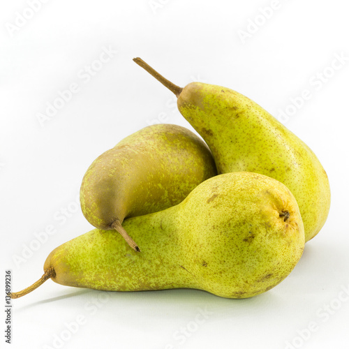 Three Abate Fetel pears isolated on white background. Wallpaper Mural
