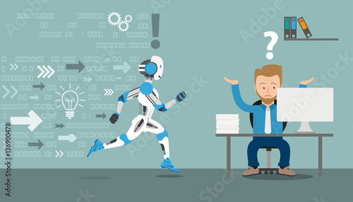 Fotografia  Cartoon Businessman Running Robot Data Office