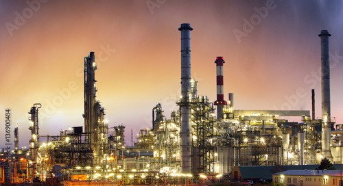 Spoed Foto op Canvas Industrial geb. Industry, Oil petrochemical plant at sunset
