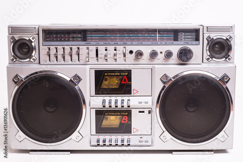 Fotografia  Front View of a Vintage Boom Box Cassette Tape Player Isolated on White Backgrou