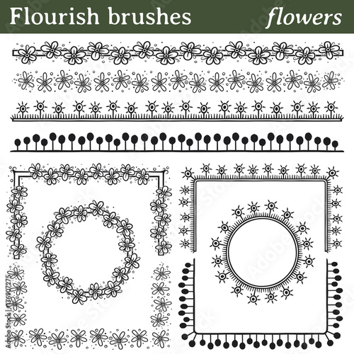 Flourish brushes, flowers. You can draw any line or path and