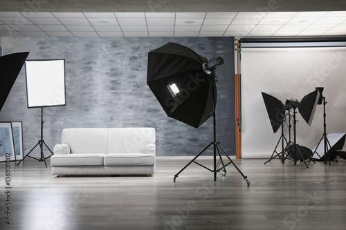 Fototapeta Photo studio with lightning equipment obraz na płótnie
