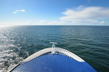 View Of The Baltic Sea From The Bow Of A Passenger Ferry On A Clear Summer Day