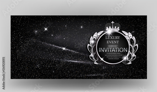 Fotografie, Obraz  VIP Invitation card with sparkling black fabric