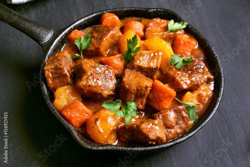 Beef stew in frying pan