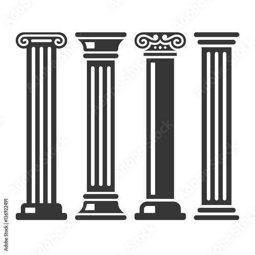 Ancient Columns Icon Set. Vector Canvas Print