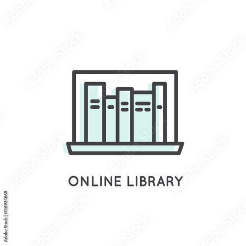 Vector Icon Style Logo of Online Library, Storage, Epub, Txt, Book