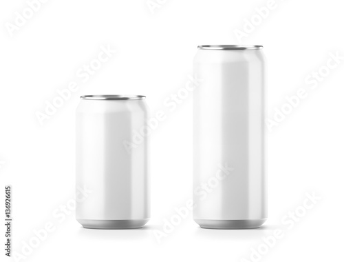 blank small and big aluminium soda can mockup 3d rendering empty