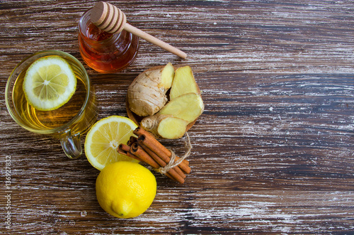 Hot cup of herbal ginger tea with lemonm, spice and honey Canvas Print