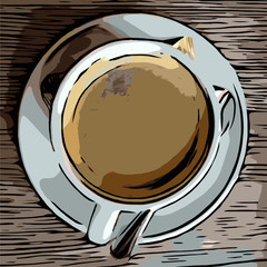 Panel Szklany Do kawiarni Eine Tasse Kaffee am Morgen