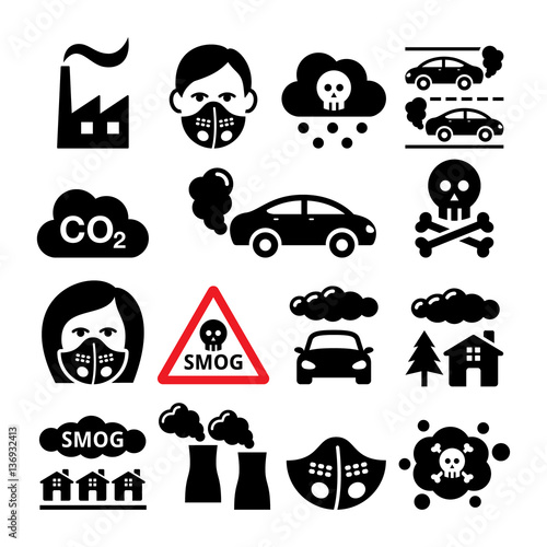 Smog, pollution icons set - ecology, environment concept Poster