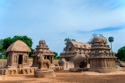 Fényképezés  View of Pancha Rathas monument complex at Mahabalipuram, India