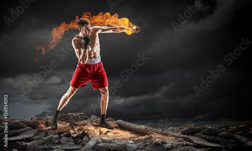 Carta da parati Box fighter trainning outdoor . Mixed media . Mixed media