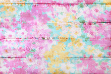 Colorful Wooden Background With Floral Pattern