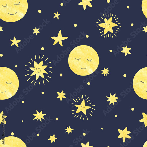 Cotton fabric Seamless moon and stars pattern. Vector night illustration for kids design.