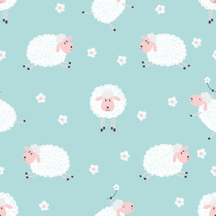 Naklejka Seamless pattern with cute sheep on blue. Vector background for kids.