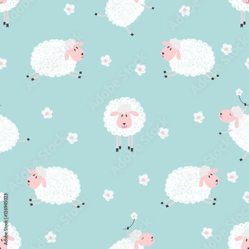 Stoffe zum Nähen Nahtlose Muster mit niedlichen Schafe auf blau. Vektor Hintergrund für Kinder.