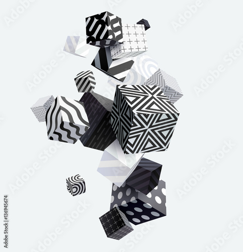 Naklejka dekoracyjna 3D decorative cubes. Abstract vector illustration.