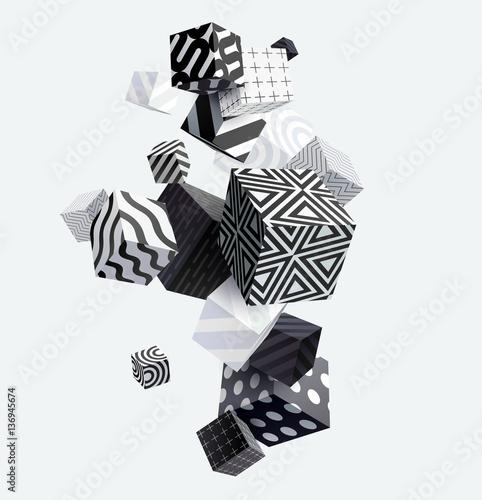 3D dekoracyjne kostki. Streszczenie ilustracji wektorowych.