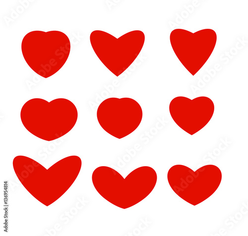 Isolated Abstract Red Color Hearts Of Different Shapes Logos