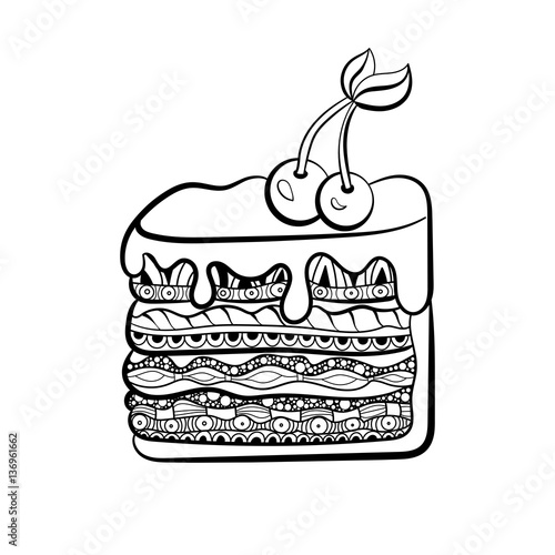 piece of cake for coloring book for adults. Zentangle style. Black ...